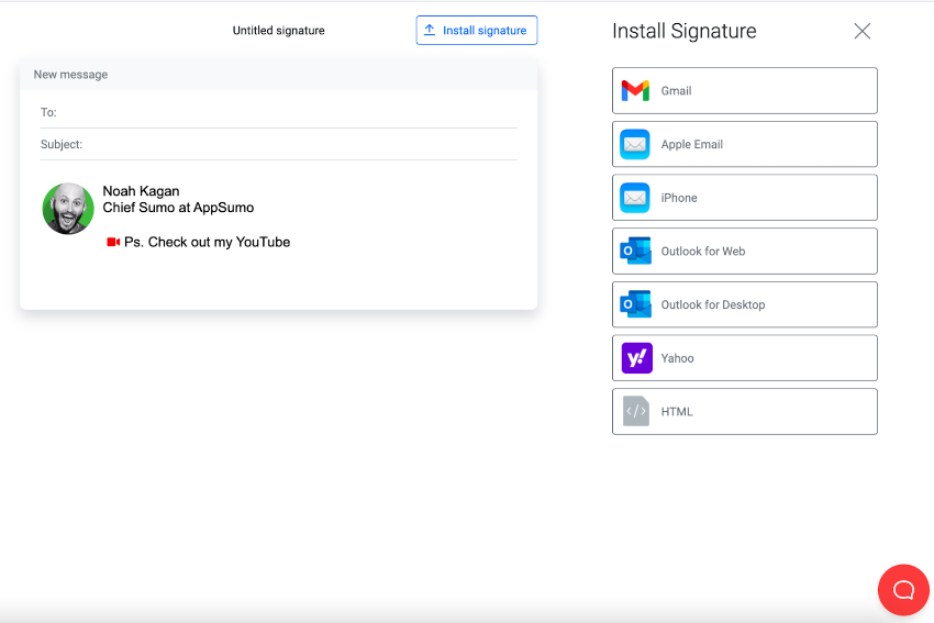 Email signature integration and installation