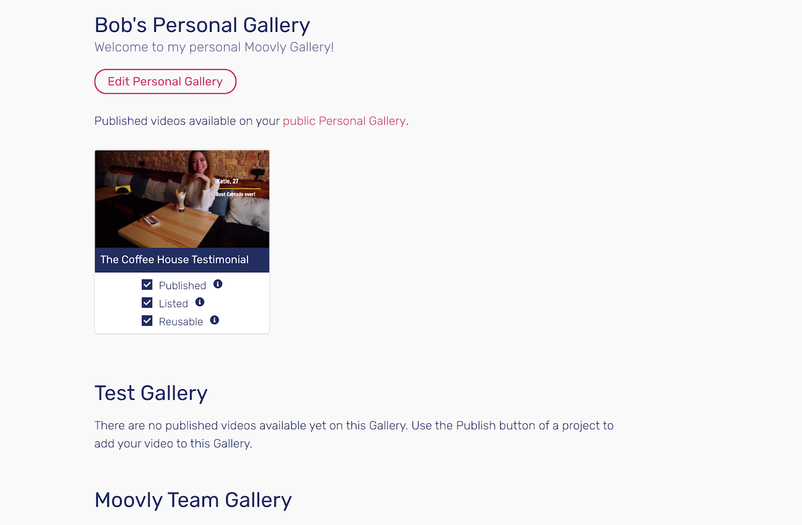 Personal gallery and test gallery