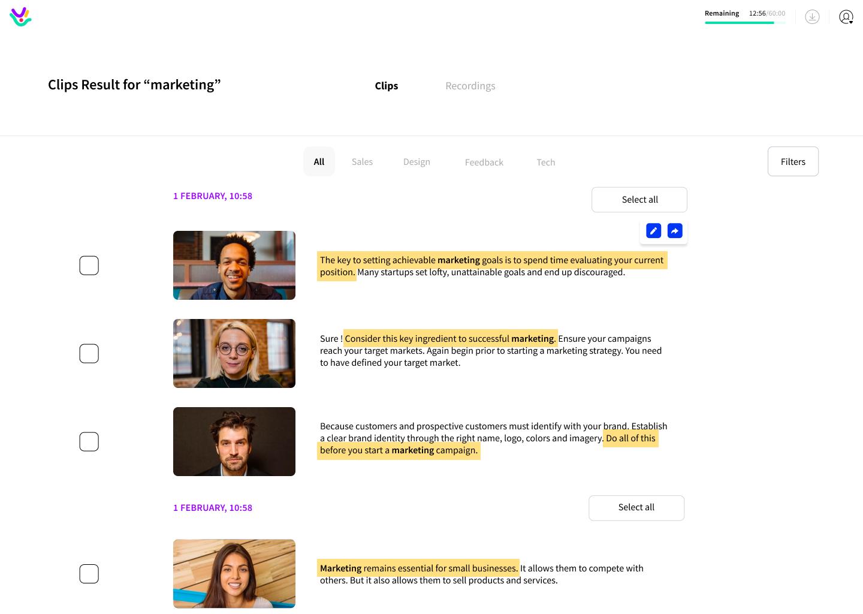 Search of transcripts across videos